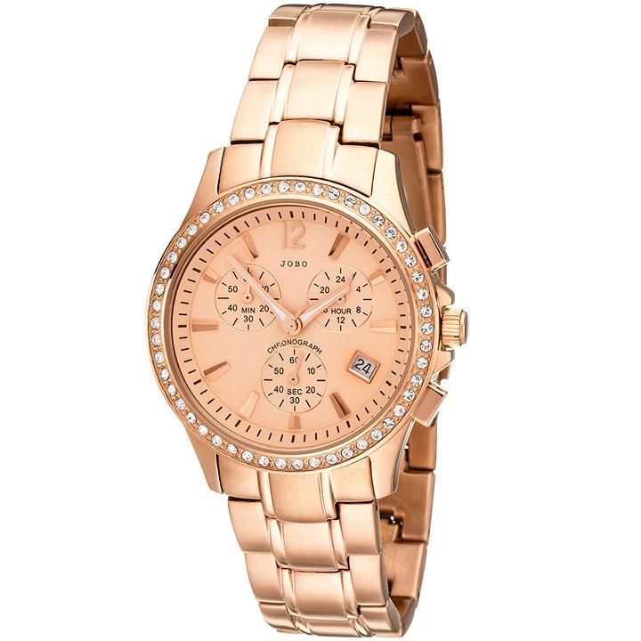 Damen Armbanduhr Quarz Chronograph Edelstahl mit SWAROVSKI® ELEMENTS