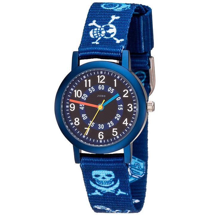 Kinder Armbanduhr Pirat blau Quarz Aluminium Kinderuhr Jungenuhr