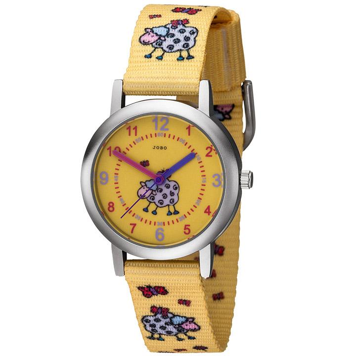 Kinder Armbanduhr Schaf Schäfchen gelb Quarz Analog Kinderuhr