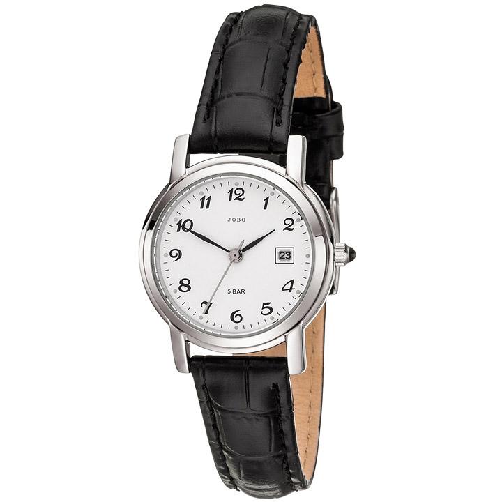 Damen Armbanduhr Quarz Analog Edelstahl Lederband schwarz Damenuhr Datum