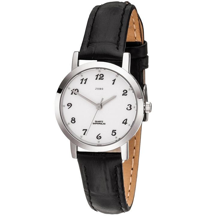 Damen Armbanduhr Quarz Analog Edelstahl Lederband schwarz Damenuhr