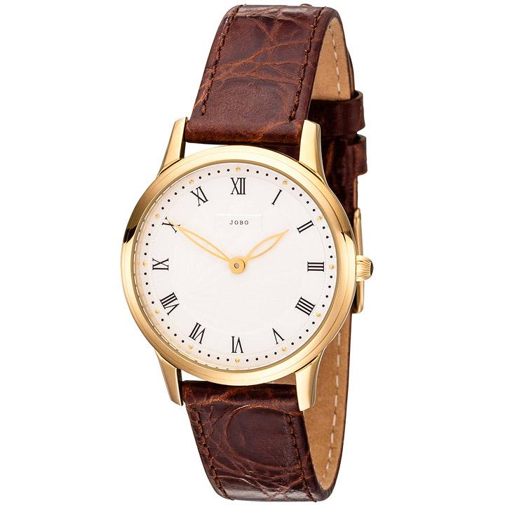 Damen Armbanduhr Quarz Analog Edelstahl vergoldet Lederband braun Damenuhr