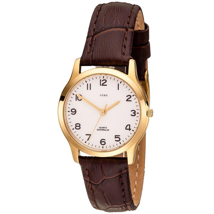 Damen Armbanduhr Quarz Analog Edelstahl vergoldet Lederband
