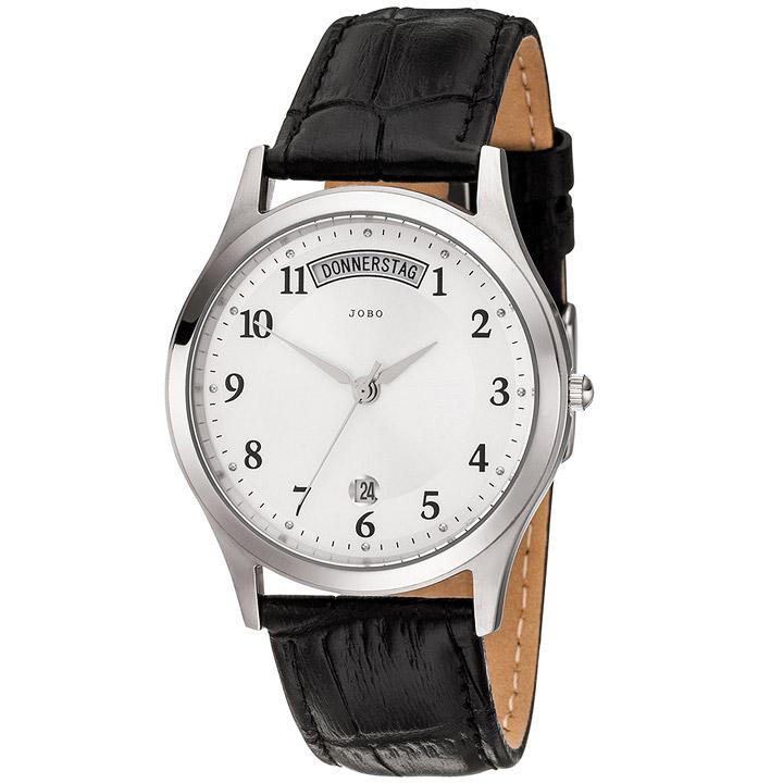 Herren Armbanduhr Quarz Analog Edelstahl Lederband schwarz Herrenuhr Datum