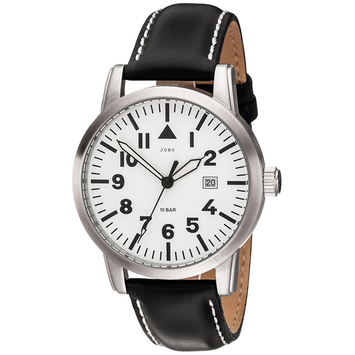 Herren Armbanduhr Quarz Analog Edelstahl Lederband schwarzHerrenuhr Datum
