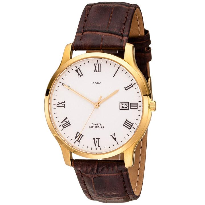 Herren Armbanduhr Quarz Analog Edelstahl vergoldet Lederband braun Datum