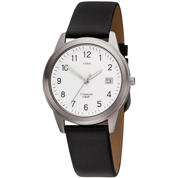 Herren Armbanduhr Quarz Analog Titan Lederband schwarz Herrenuhr mit Datum