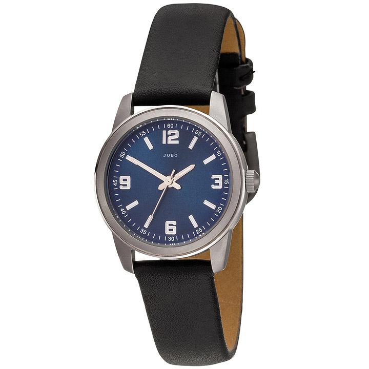 Damen Armbanduhr Quarz Analog Titan Lederband schwarz Damenuhr