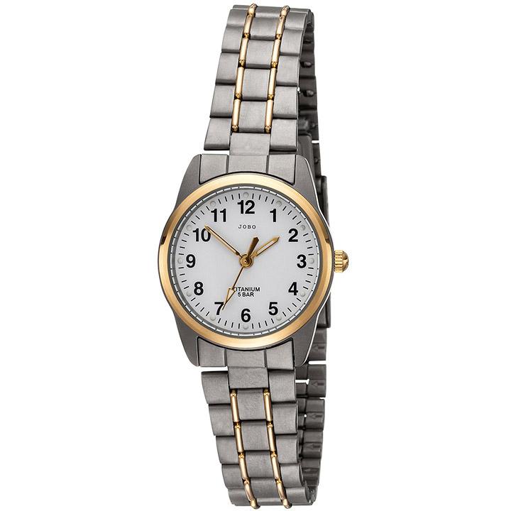 Damen Armbanduhr Quarz Analog Titan bicolor vergoldet Damenuhr