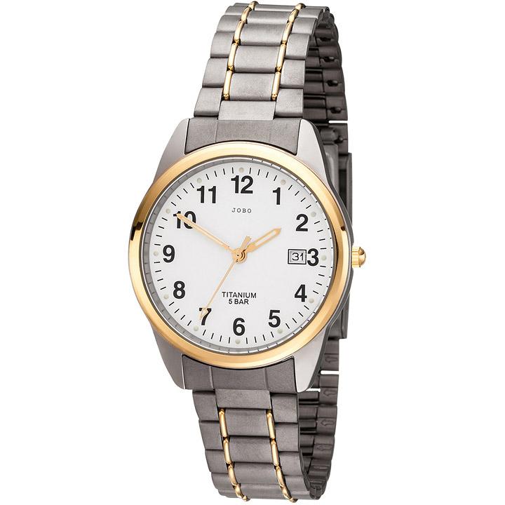 Herren Armbanduhr Quarz Analog Titan bicolor vergoldet Herrenuhr mit Datum