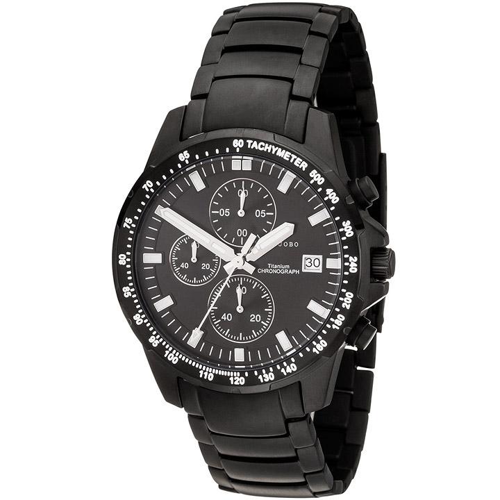 Herren Armbanduhr Quarz Chronograph Titan schwarz Herrenuhr mit Datum