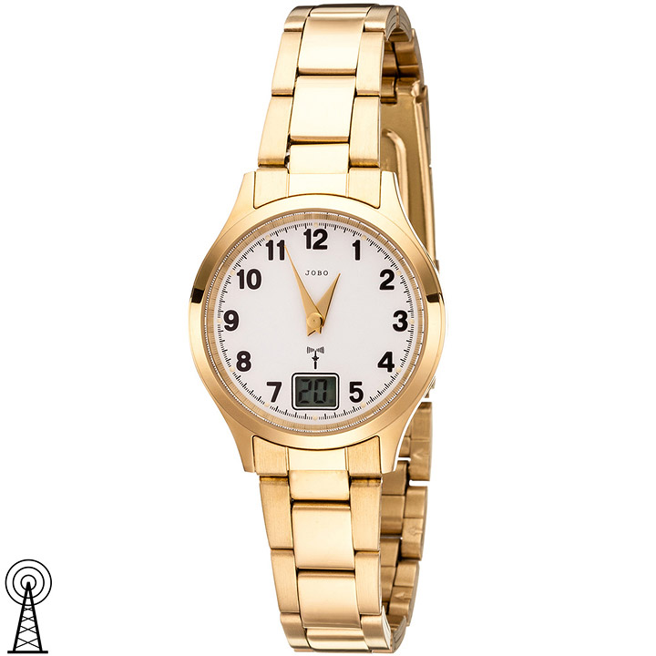 Damen Armbanduhr Funk Funkuhr Edelstahl gold vergoldet Damenuhr mit Datum