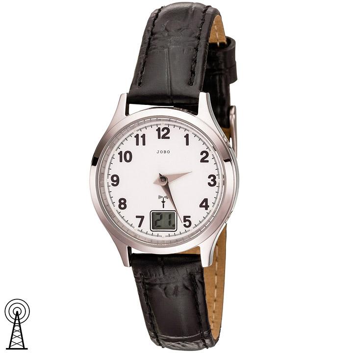 Damen Armbanduhr Funk Funkuhr Edelstahl Lederband schwarz Datum Damenuhr