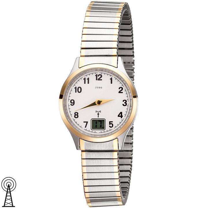 Damen Armbanduhr Funk Funkuhr Edelstahl bicolor vergoldet Flexband Datum