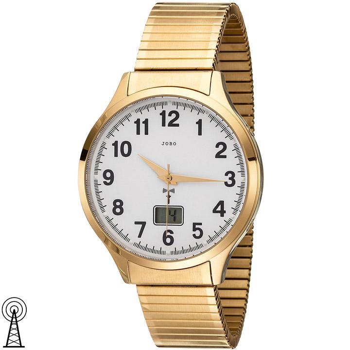 Herren Armbanduhr Funk Funkuhr Edelstahl gold vergoldet Flexband Datum