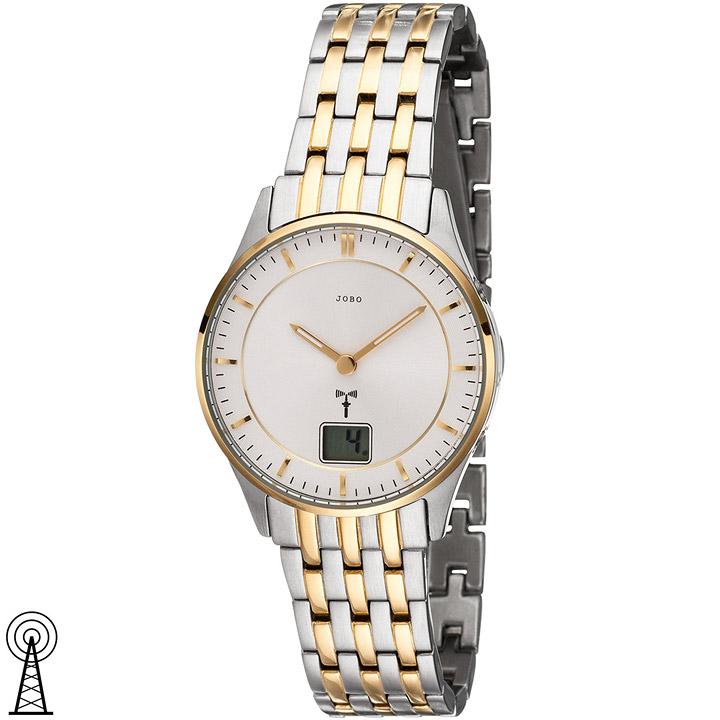 Damen Armbanduhr Funk Funkuhr Edelstahl bicolor vergoldet Damenuhr Datum