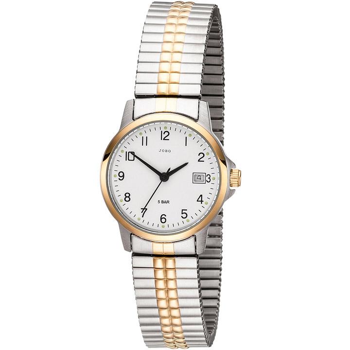 Damen Armbanduhr Quarz Analog Edelstahl bicolor vergoldet Flexband Datum
