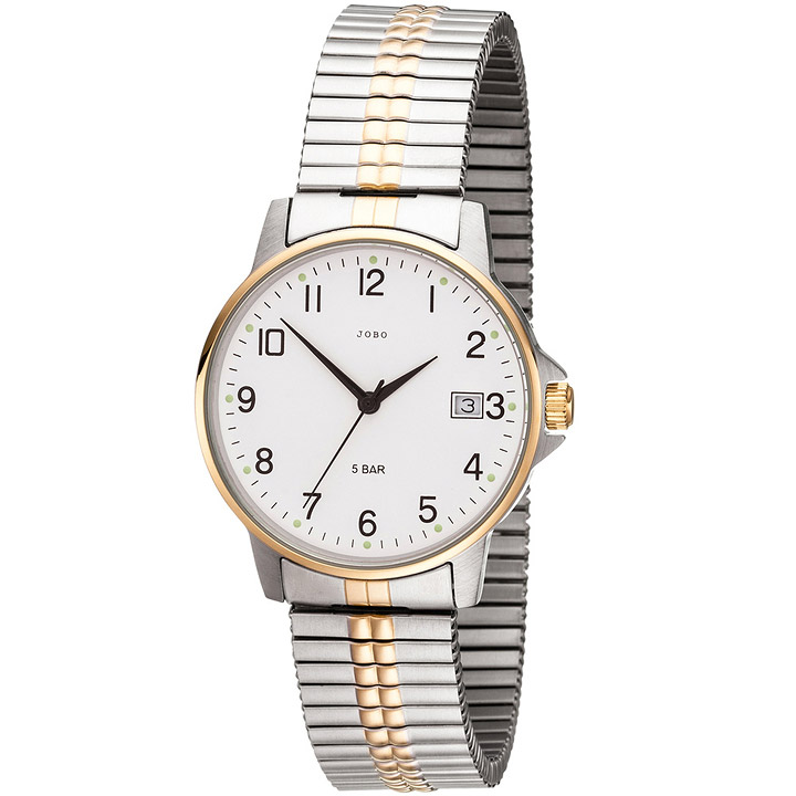 Herren Armbanduhr Quarz Analog Edelstahl bicolor vergoldet Flexband Datum