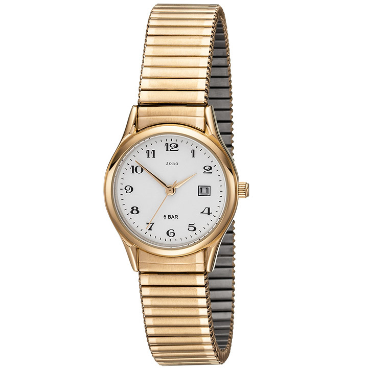 Damen Armbanduhr Quarz Analog Edelstahl gold vergoldet Flexband Datum