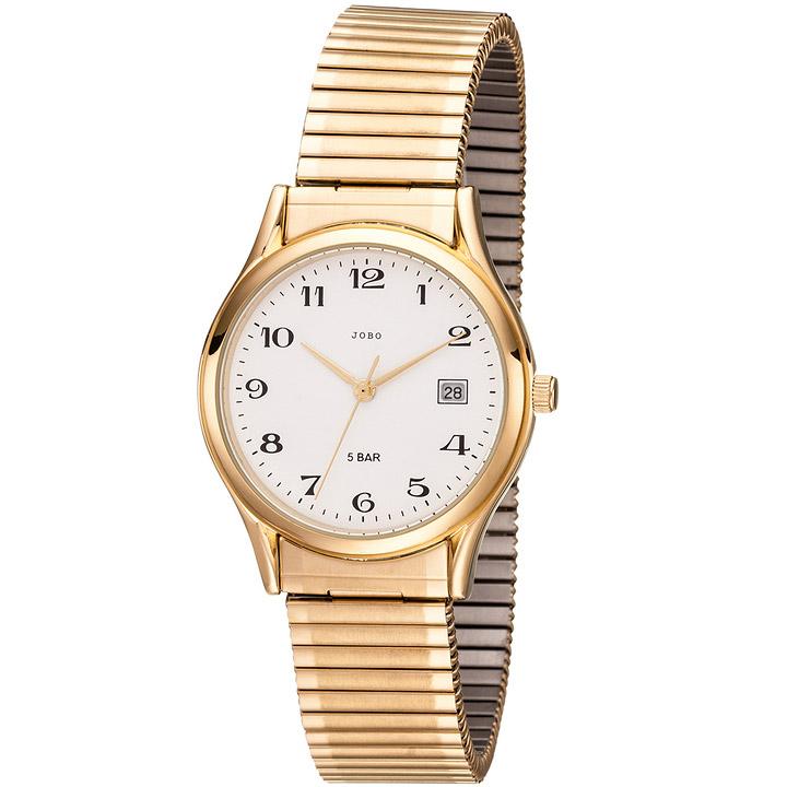 Herren Armbanduhr Quarz Analog Edelstahl god vergoldet Flexband Datum