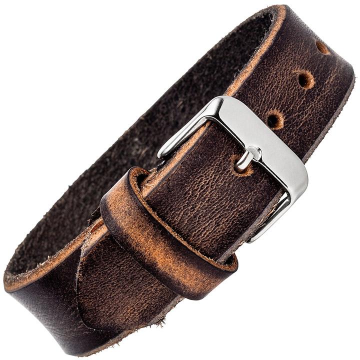 Armband Leder braun dunkelbraun 20 cm mit Dornschließe aus Edelstahl