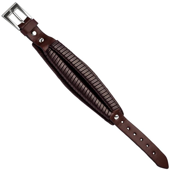 Armband Leder braun dunkelbraun 21,5 cm mit Dornschließe aus Edelstahl