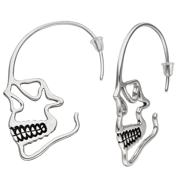 Ohrhänger Totenkopf Totenschädel Edelstahl geschwärzt Ohrringe