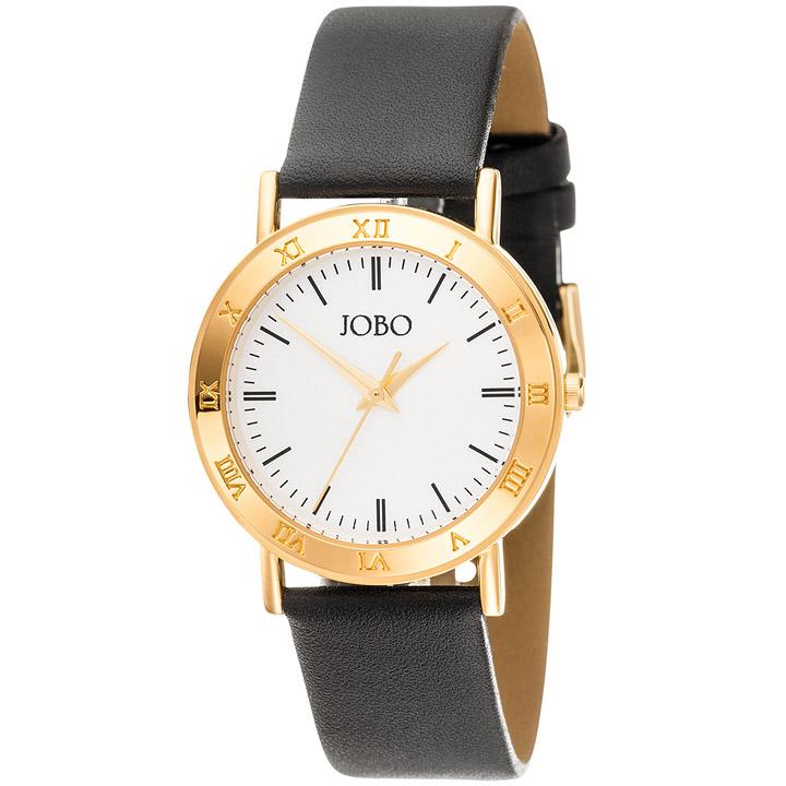 Herren Armbanduhr Quarz Analog gold vergoldet Lederarmband schwarz