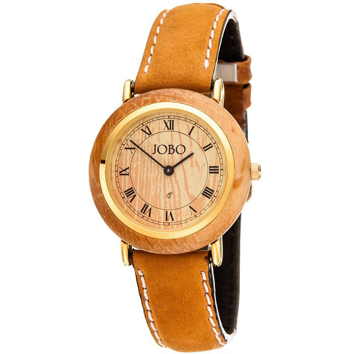 Damen Armbanduhr mit Holz Quarz Analog vergoldet Lederband braun Damenuhr