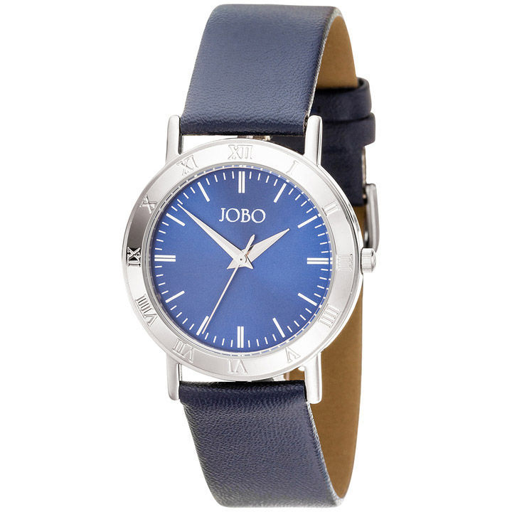 Herren Armbanduhr Quarz Analog Edelstahl Lederarmband blau