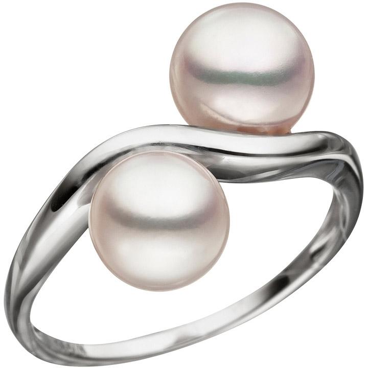 Damen Ring 585 Gold Weißgold 2 Akoya Perlen Perlenring Weißgoldring