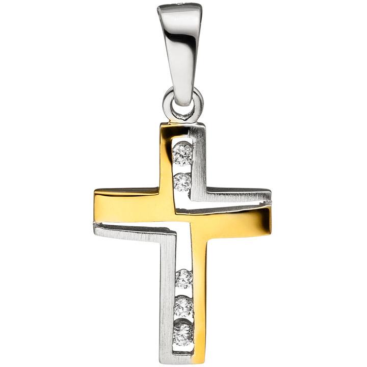Anhänger Kreuz 925 Sterling Silber bicolor vergoldet matt mattiert 5 Zirkonia