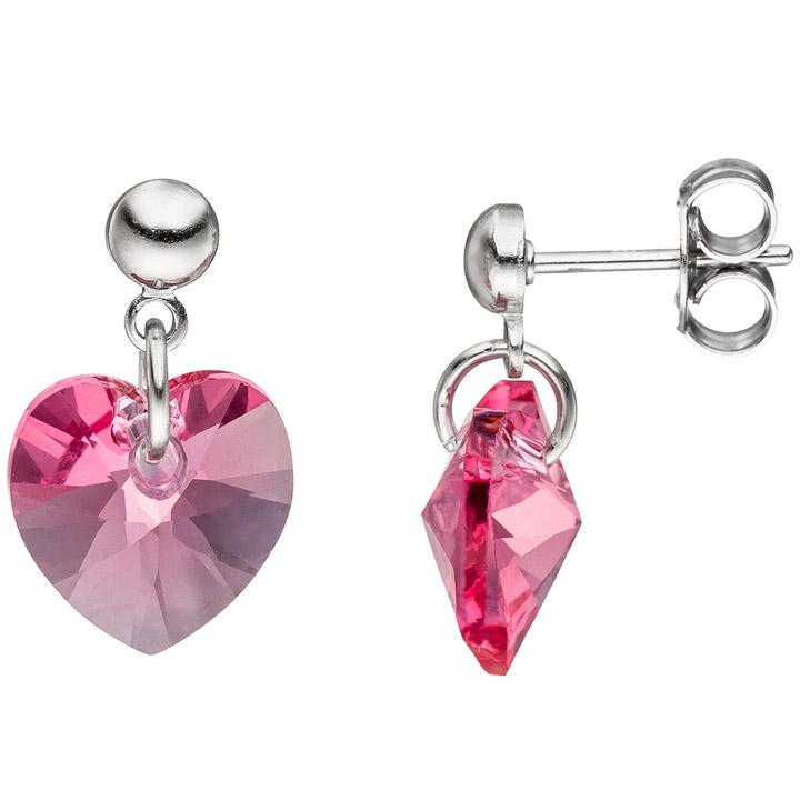 Ohrhänger Herz 925 Silber mit SWAROVSKI® ELEMENTS rosa pink Ohrringe Ohrstecker