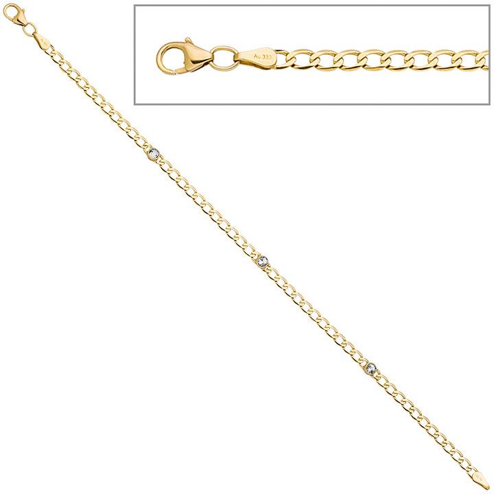 Armband 333 Gold Gelbgold 3 Blautopase hellblau blau 19 cm Goldarmband Karabiner