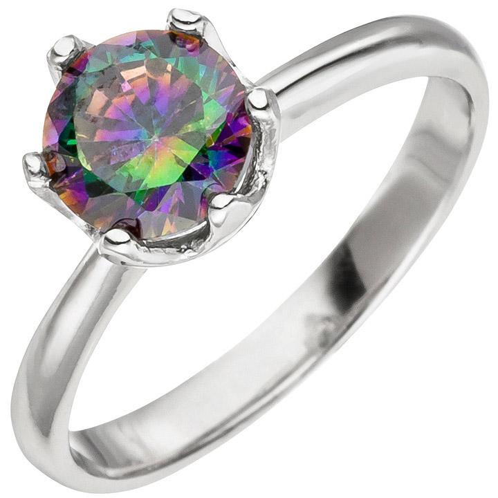 Damen Ring 925 Sterling Silber 1 Zirkonia multicolor Silberring