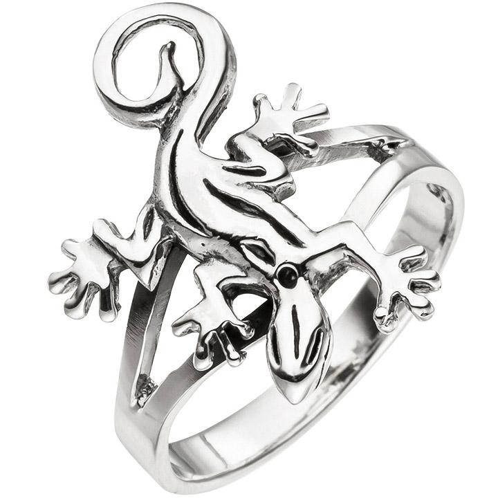 Damen Ring Gecko Echse Eidechse 925 Sterling Silber Silberring