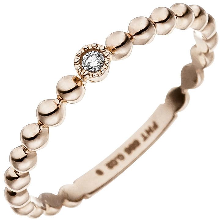 Damen Ring Kugel 585 Gold Rotgold 1 Diamant Brillant Rotgoldring Kugelring