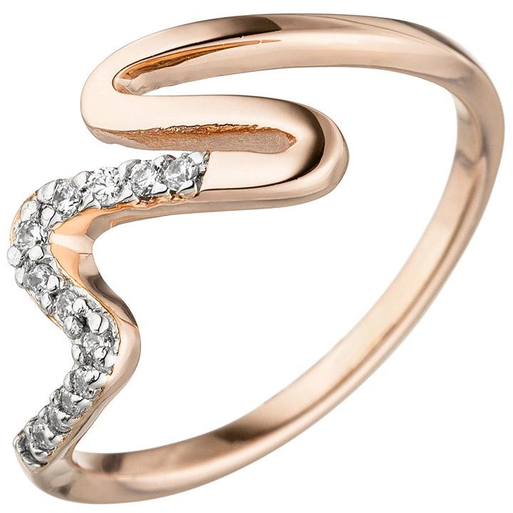Damen Ring 925 Sterling Silber rotgold vergoldet 13 Zirkonia