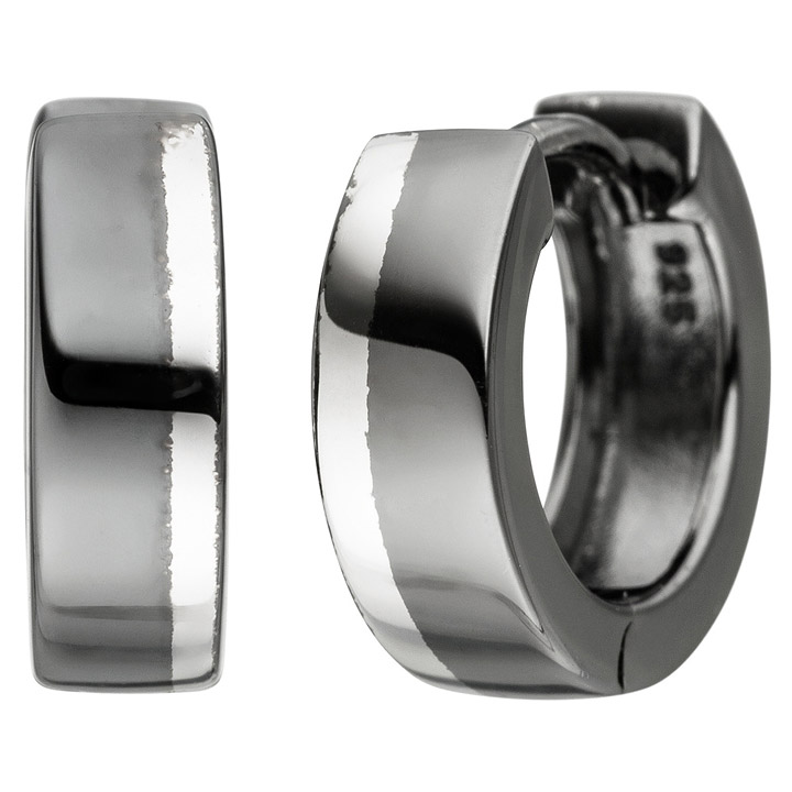 Creolen 925 Sterling Silber anthrazit bicolor Ohrringe