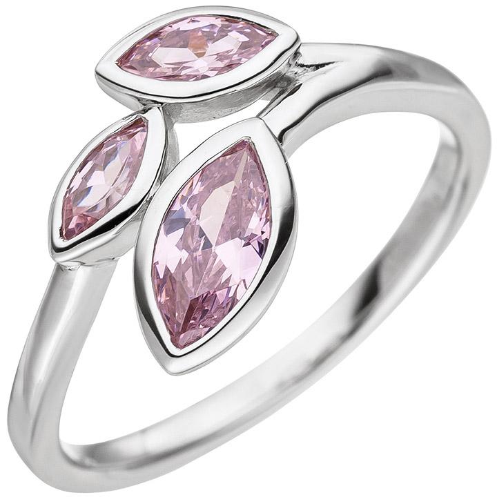 Damen Ring 925 Sterling Silber 3 Zirkonia rosa Silberring