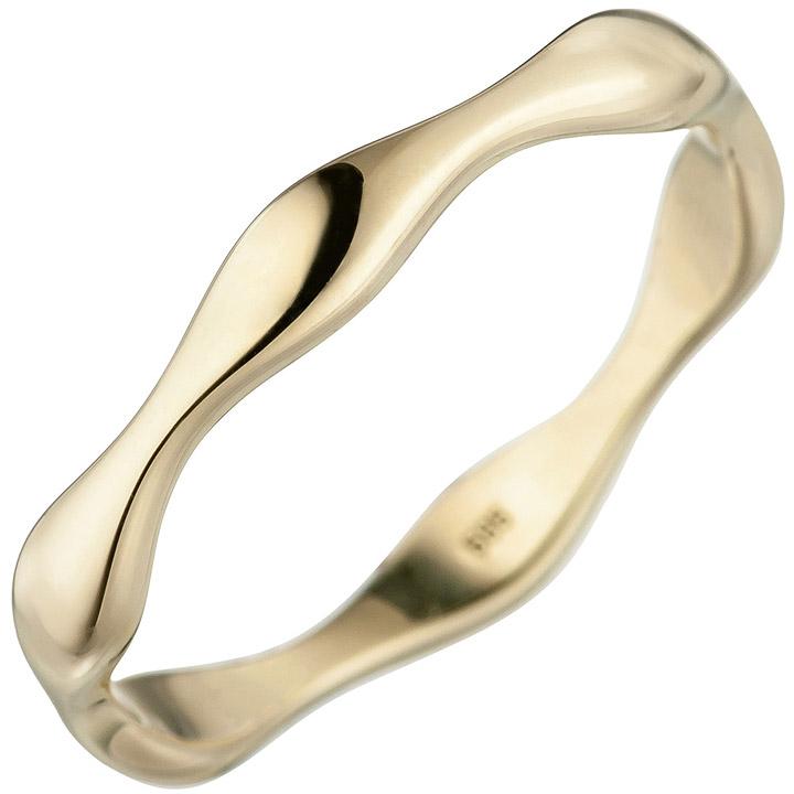 Damen Ring Welle 585 Gold Gelbgold Goldring gewellt