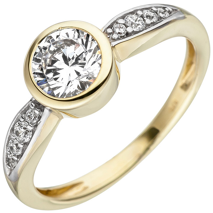 Damen Ring 375 Gold Gelbgold bicolor 9 Zirkonia Goldring