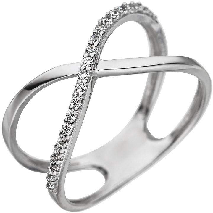 Damen Ring gekreuzt 925 Sterling Silber mit Zirkonia Silberring