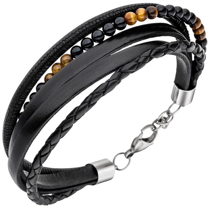 Armband Leder schwarz mit Onyx und Tigeraugen Kugeln 23 cm Lederarmband