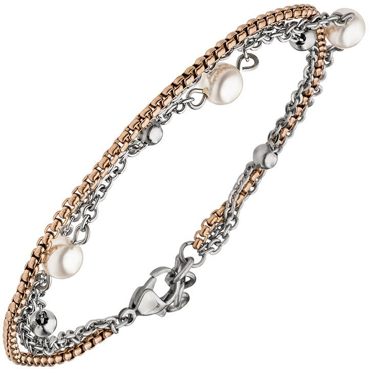 Armband 3-reihig Edelstahl bicolor beschichtet 21 cm mit SWAROVSKI® ELEMENTS