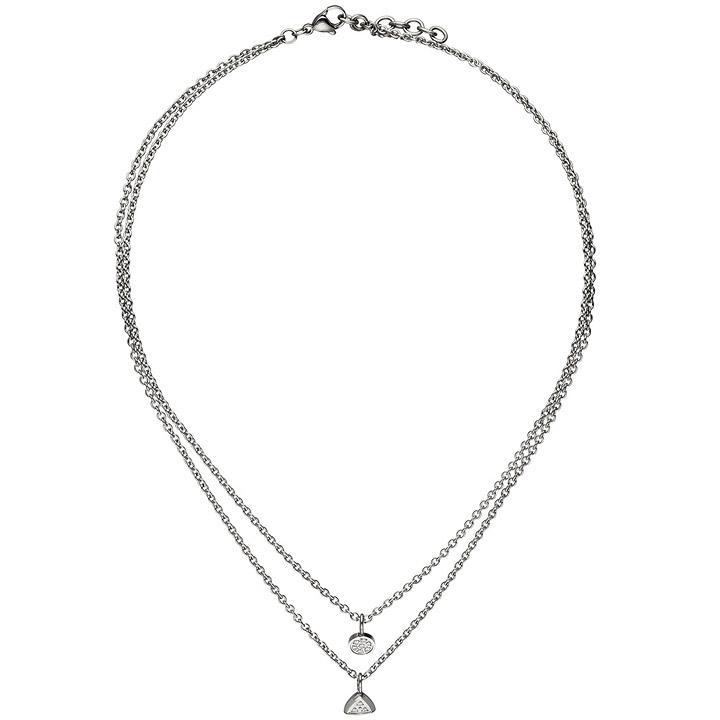 Collier Kette mit Anhänger 2-reihig Edelstahl 10 Zirkonia 45 cm Halskette