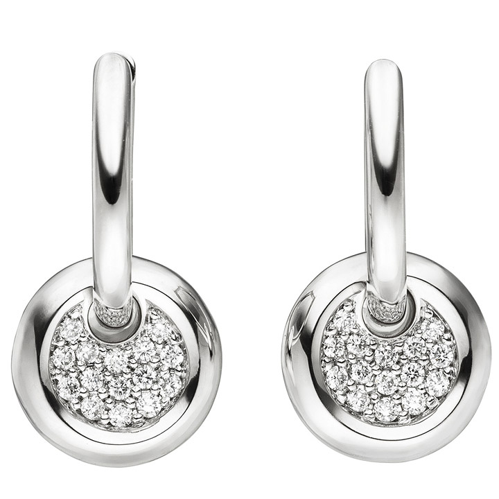 Creolen 585 Gold Weißgold 30 Diamanten Brillanten Ohrringe Diamantohrringe
