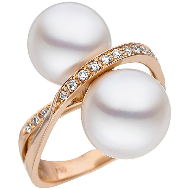 Damen Ring 750 Rotgold 24 Diamanten Brillanten 2 Südee Perlen weiß Perlenring