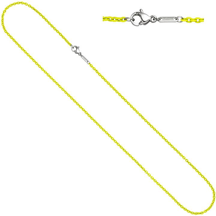 Rundankerkette Edelstahl gelb lackiert 45 cm Kette Halskette Karabiner