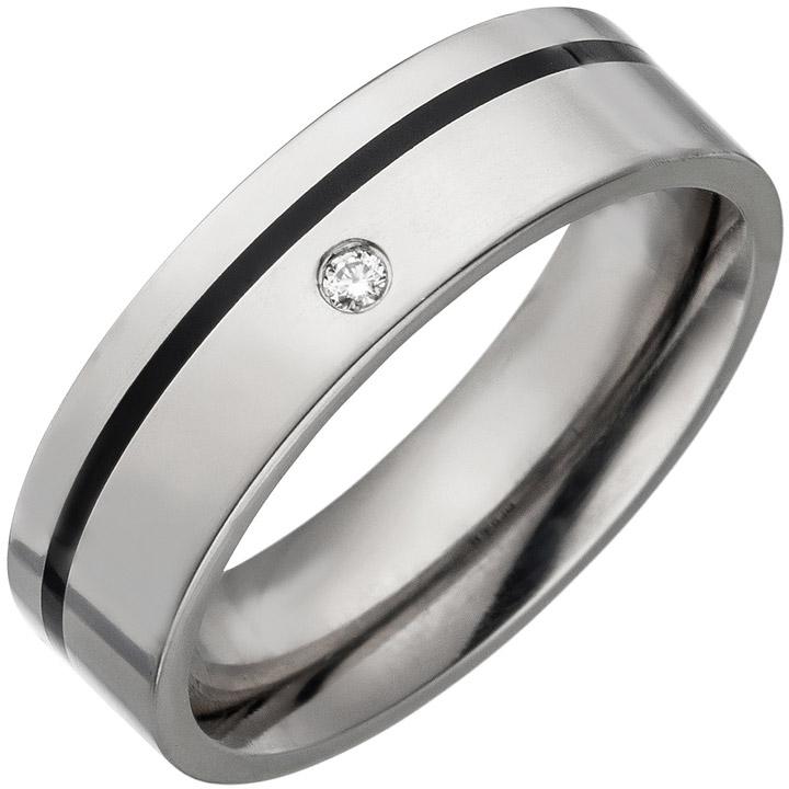Partner Ring Titan mit Keramik schwarz 1 Diamant Brillant Partnerring Titanring